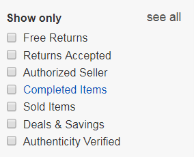 ebay active and completed listings