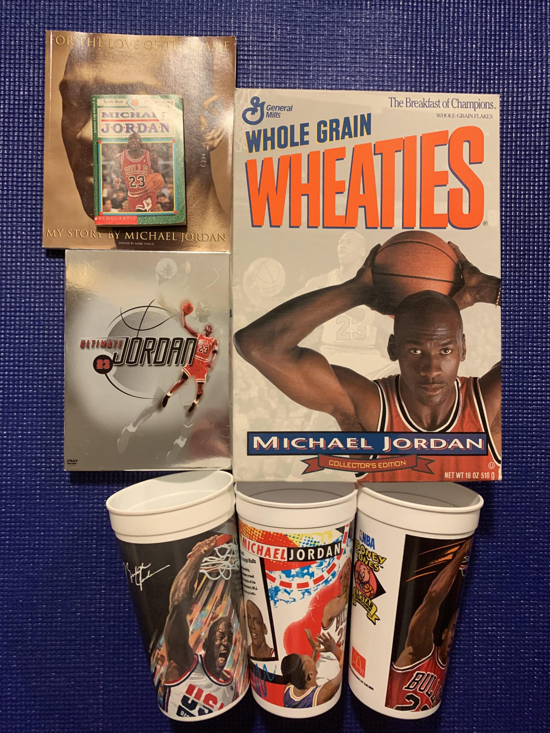 michael jordan sports memorabilia wheaties dvd cup book